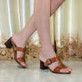Sandalias de las mujeres de cuero genuino tacones med zapatos de las mujeres para las mujeres de cuero puro de gran tamaño las mujeres zapatilla 3188-9