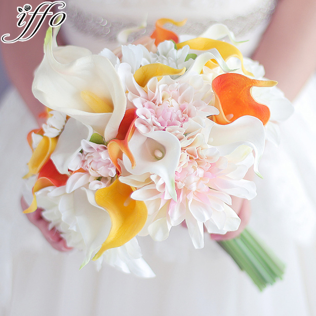 Yellow orange Calla Lily bouquet Dahlia Flower bouquet wedding Bride ...