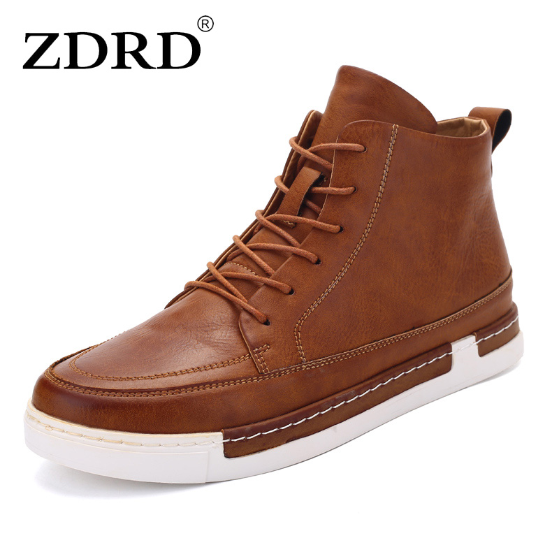 ZDRD Waterproof Men Boots pu Leather Men Shoes 2017 Casual Lace Up Ankle Boots Western Winter