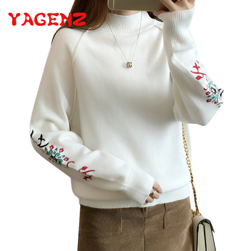 YAGENZ Women Sweater Pullovers Knitted O-Neck Autumn Winter Warm Thick Soft Embroidery