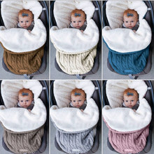 Knitted Baby Sleeping Bag Envelope for Newborns Baby Stroller Covers Thick Warm Swaddling Baby Stroller Blanket Girl Boy Clothes(China)