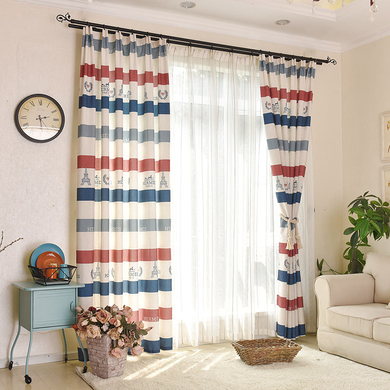 Mediterranean style tower striped printed curtains for for Cortinas para living
