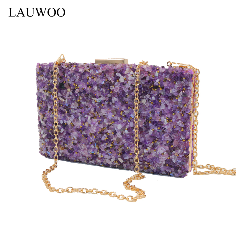 LAUWOO Purple Stone Women Elegant Evening Bags Lady Diamond Banquet Bag Minaudiere Female Wedding Party evening clutch bags new stone women elegant evening bag with diamond bag lady beachstone banquet bag minaudiere female day clutch wedding party