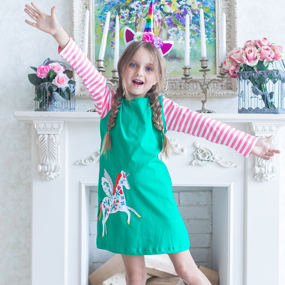 Long Sleeve Girls Dresses Baby Clothes Kids Unicorn Dress for Girl Cotton Autumn Princess Dress Children Clothing Vestidos w l monsoon baby girl dress long sleeve vestidos 2017 brand christmas dress with embroidery cotton autumn dresses kids clothes