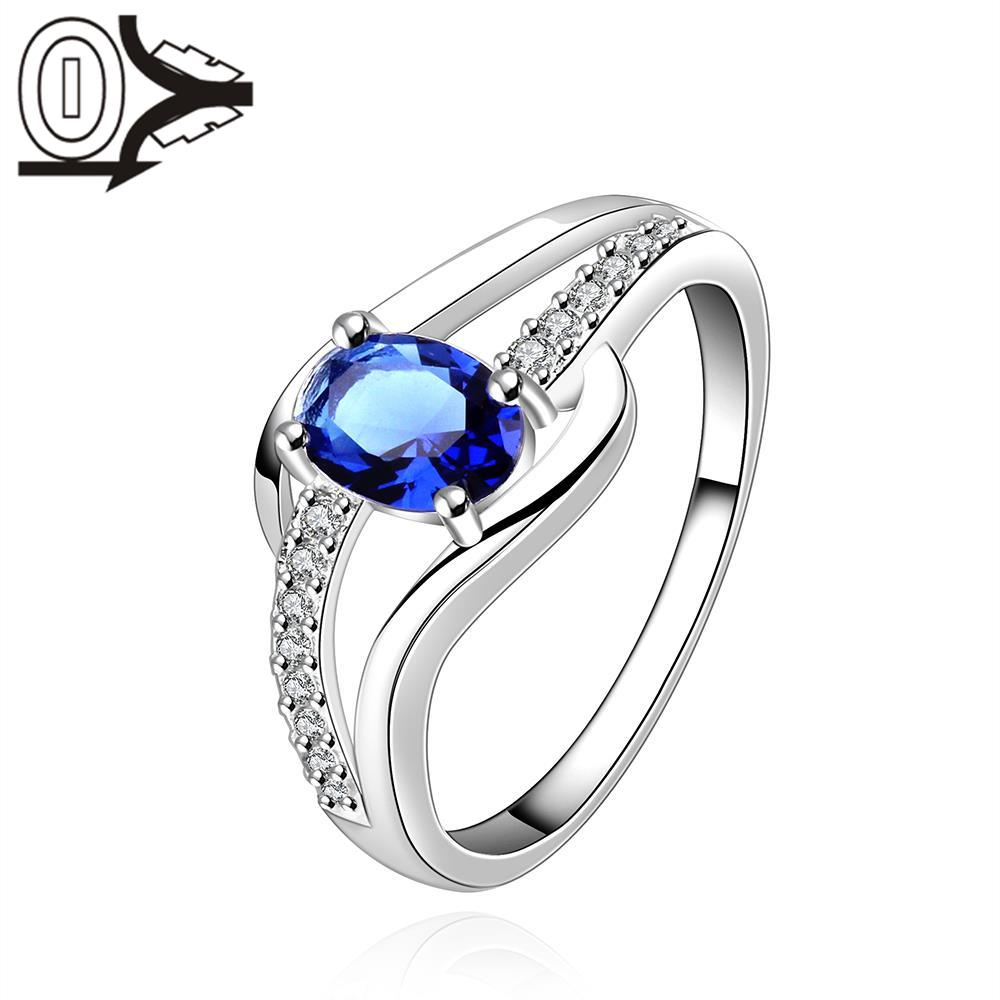 top quality oval princess kate blue gem created ring silver plated wedding finger crystal rings brand - Princess Kate Wedding Ring