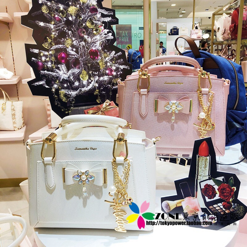 Japanese Samantha Vega 2018 Christmas Handbag Pearl Bow Handbag Shoulder Diagonal Cross Bag Wowen Messenger Bag Messenger Bag