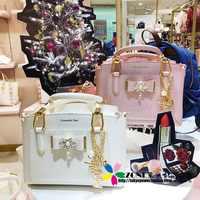 Japanese Samantha Vega 2018 Christmas Handbag Pearl bow handbag shoulder diagonal cross bag wowen messenger bag messenger bag