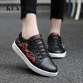 Embroider Floral Valentine Shoes Superstar 2017 Spring Leather Casual Women Shoes Lace Up Low Top Womans Flats Plus Size 44 ZD40