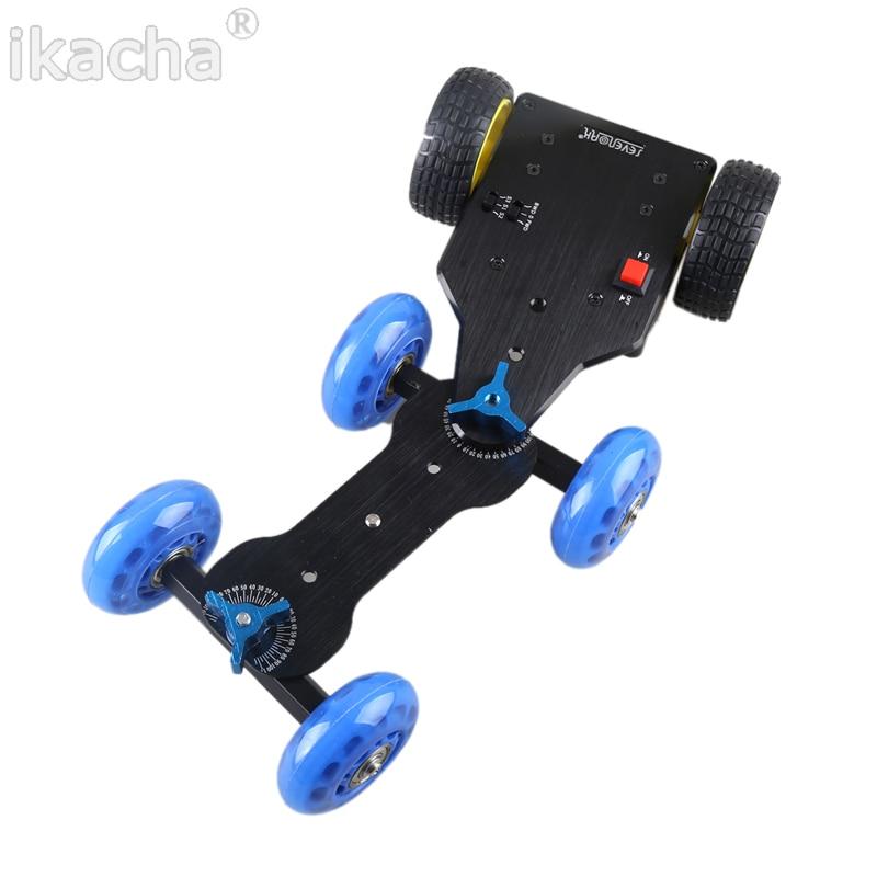 New 4 Wheels Mobile Rolling Sliding Dolly Stabilizer Skater Slider + Motorized Push Cart Tractor For GoPro 5 4 3+ 3 2 1 Camera ye 5d2 super mute 3 wheel truck dolly slider skater for dslr camera black