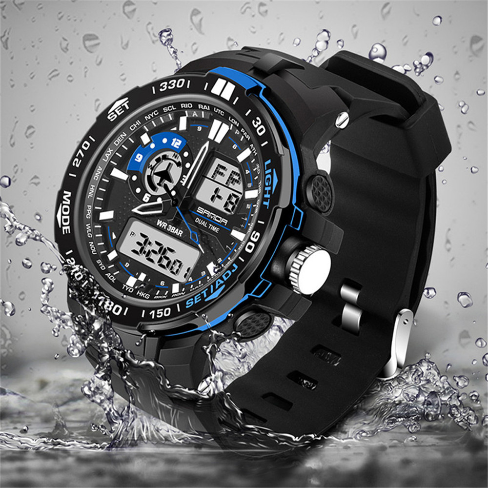 Watch Men Brand Luxury Reloj Double Display Cold Light Watches Electronic Smart Sport Waterproof Male Watch Relogio Masculino *A