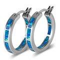 Azul del Ópalo de Fuego 925 Pendientes de Plata de ley de Moda P297