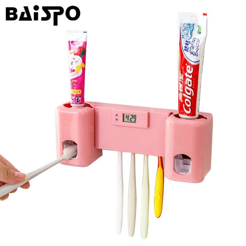 Ванная комната аксессуары продукты часы автоматический Зубные пасты диспенсер Зубная щётка держатель набор для настенного монтажа в стойку Выдавливали для зубной пасты