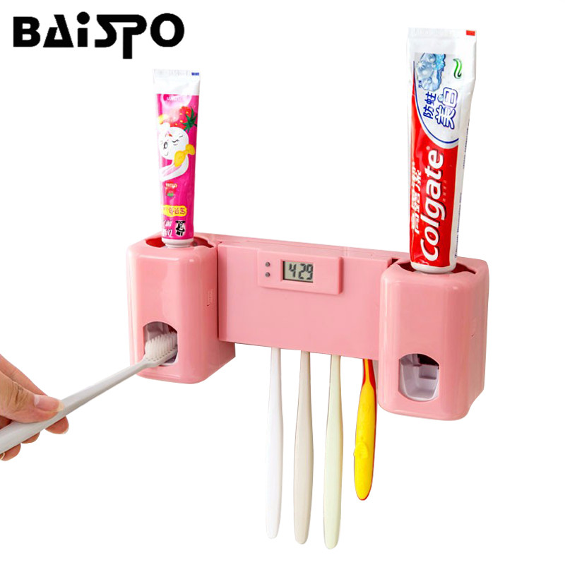 Bathroom accessories Products Clock Automatic Toothpaste Dispenser Toothbrush Holder Set Wall Mount Rack Toothpaste Squeezers