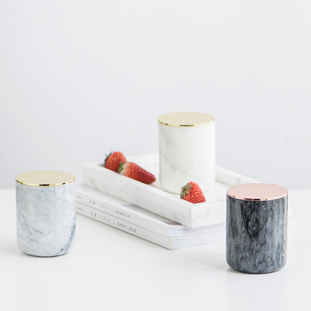 Nordic Style Marble Vase Pen Holder Candle Of Storage White Black