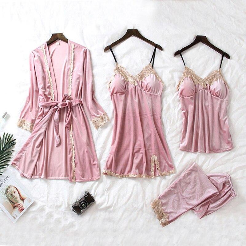 4 stück Pyjamas Sets 2019 Warme Winter Gold Samt Frauen Sexy Spitze Robe Pyjamas Nachtwäsche Kit Ärmellose Nachtwäsche Pijamas