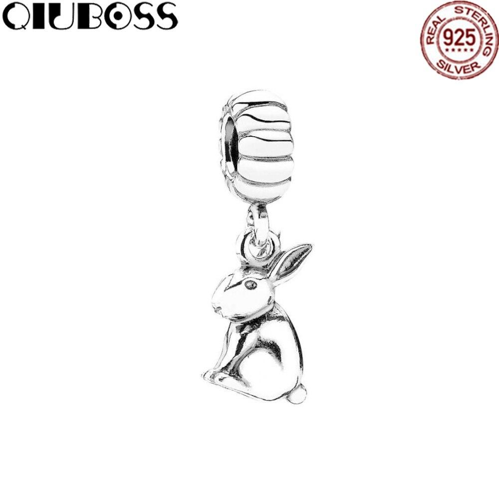 QIUBOSS 100% 925 Sterling Silver Jewelry 791101 Zodiac rabbit Charm Pendant Fit Diy Original Bracelet Women Fashion Gift