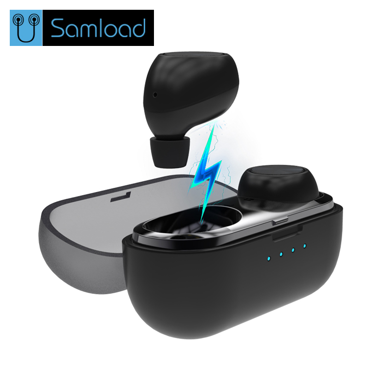 Samload TWS Wireless Stereo Earbuds Portable Mini Bluetooth Earphone With Charger Box Wireless Earphone Headset new dacom carkit mini bluetooth headset wireless earphone mic with usb car charger for iphone airpods android huawei smartphone