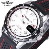 WINNER Sport Men Automatic Mechanical Watch Rubber Strap Date Display Arabic Number Minimum Design Fashion Style