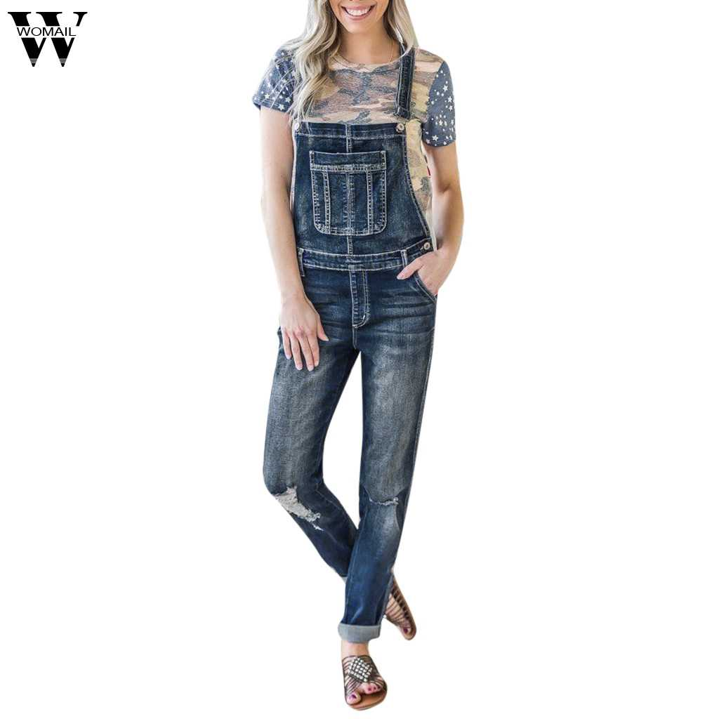 93022c157ae2 Womail Women s Overalls Spring Basic Denim Pants Female Denim Autumn Casual Jeans  Jumpsuit Hole Pants Jeans
