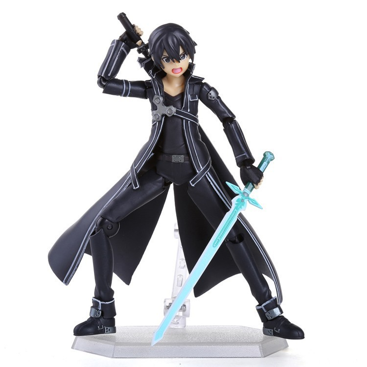 Anime Sword Art Online S.A.O Kirito Action Figure Toys 15cm Kirigaya Kazuto Figma PVC Action Figure Collectible Model Toy 3 Face sword art online alover kirigaya kazuto figma 289 figurine pvc action figures juguetes collection model kids toys