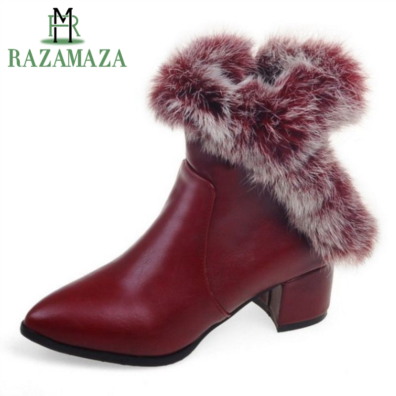 купить RAZAMAZA Plus Size 31-48 Winter Shoes Women Thick High Heel Ankle Winter Boots For Women Zip Pointed Toe Warm Fur Inside Botas недорого