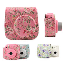 For Fujifilm Instax Mini 8 8+ 9 Camera Accessories Flowers PU Leather Instant Camera Shoulder Bag Protector Cover Case Pouch(China)