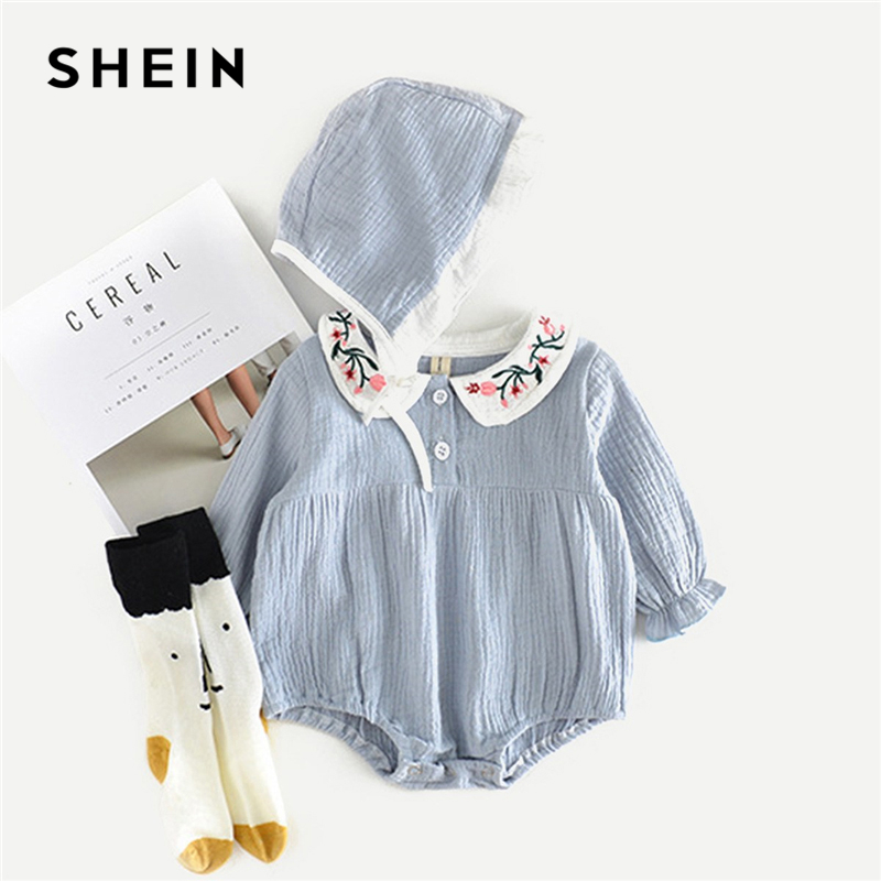SHEIN Kiddie Blue Toddler Girls Embroidery Solid Cute Blouse Kids Clothes 2019 Spring Half Placket Casual Girls Tops And Blouses hollow out solid color blouse