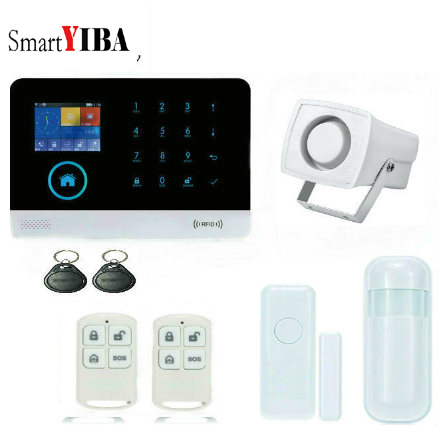 SmartYIBA Wireless GSM WIFI Home Security Burglar Alarm System Kit Android IOS APP Remote Control French Polish Russian Spanish w2b wireless wifi gsm ios android app control lcd gsm sms burglar alarm system for home security russian english spanish voice