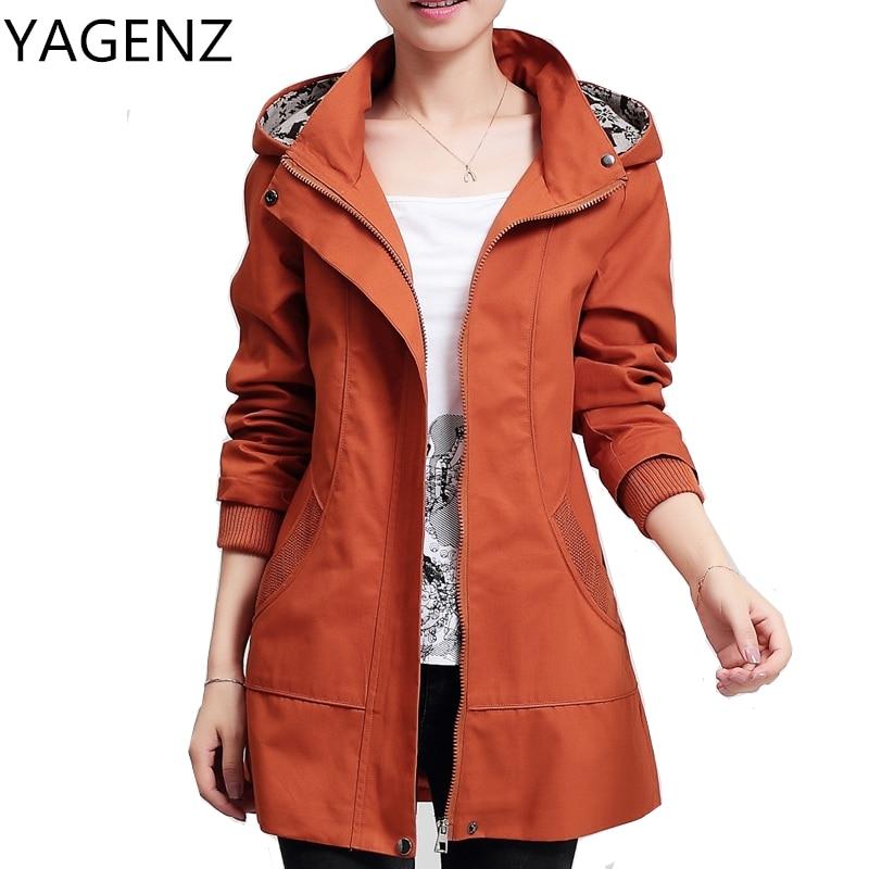 Middle-aged Women Hooded Coat Korean Slim Elegant Long-sleeved Lady   Trench   Coat Plus size Medium-long Cotton Female Windbreaker