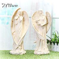 Kiwarm現代大立ち天使祝福飾り樹脂像工芸品ホームオフィスの庭の装飾彫