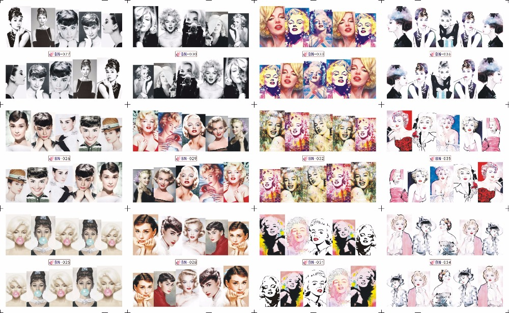 on sale !! 1 Lot=10sheets 12 in one sheet Nail Art Water Sticker Marilyn Monroe and Audrey Hepburn in 2016 for BN025-036 30pcs in one postcard audrey hepburn hollywood goddess christmas postcards greeting birthday message cards 10 2x14 2cm