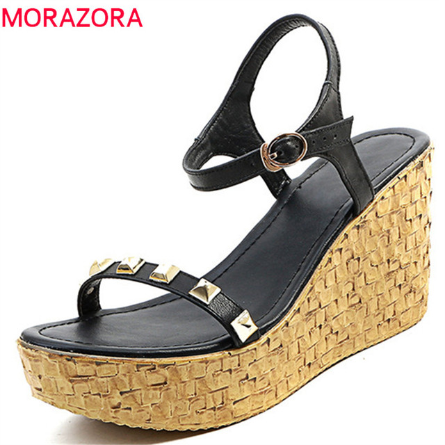 166919c1da11 MORAZORA-2018-new-women-sandals-summer-top-quality-genuine-leather -fashion-rivet-comfortable-wedges-size-34.jpg 640x640.jpg
