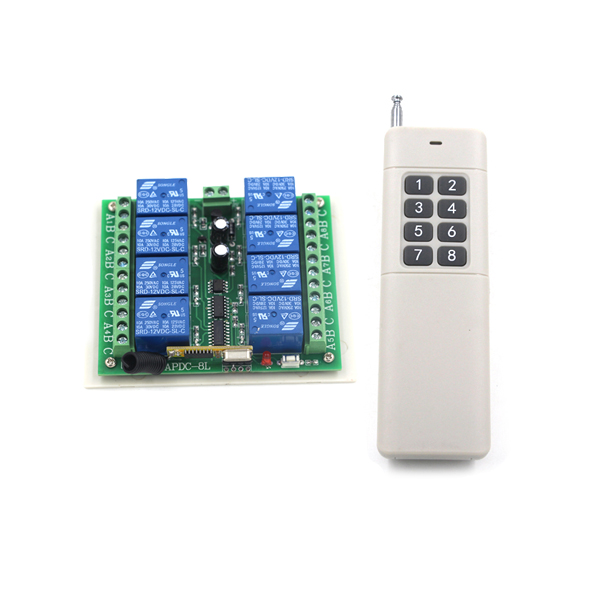 DC 12V 8CH Relay Receiver Transmitter RF Remote Control Switch Wireless Controller 315/433 Long Range Remote Switch SKU: 5262