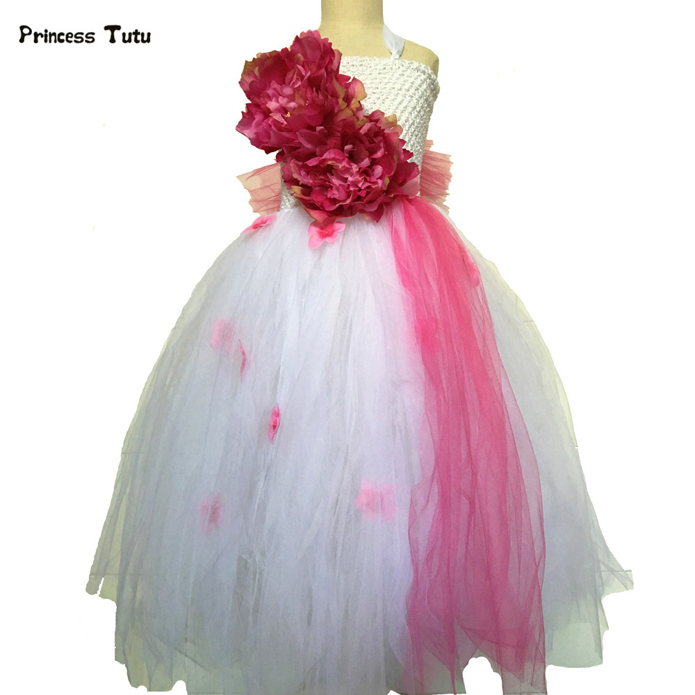 New Flower Girl Dresses Tulle Wedding Pageant Ball Gown Kids Floral Fairy White Princess Dress Children Girl Party Tutu Dress