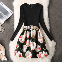 Fenghua Winter Autumn Dress Women 2017 Vintage Thicker Warm A Line Dress Elegant Long Sleeve Floral
