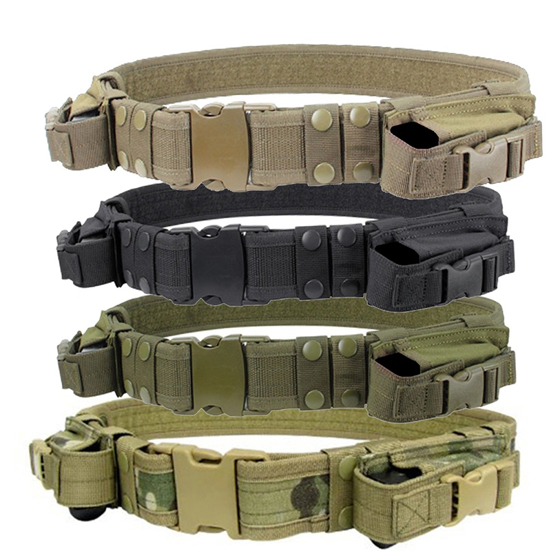 2018 New 1 piece Tactical Duty Belt Combat Police SWAT Pistol Magazine Pouch Outdoor Tactical Training Belt rocotactical basketweave police duty belt web duty belt with loop liner