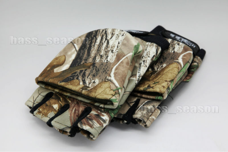 Pair Hunting Gloves Convertible fingerless RealTree Camo Camping Fishing Gloves Free shipping pair of stylish wavy edge solid color overlong knitted fingerless gloves for women