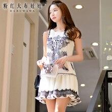 dabuwawa sleeveless dress 2016 summer new chiffon fashion casual nice short white printed loose dresses women pink doll