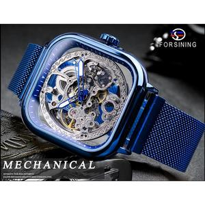 Image 2 - Forsining Blue Watches For Mens Automatic Mechanical Fashion Dress Square Skeleton Wrist Watch Slim Mesh Steel Band Analog Clock