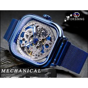 Image 2 - Forsining bleu montres pour hommes automatique mécanique mode robe carré squelette montre bracelet mince maille acier bande analogique horloge