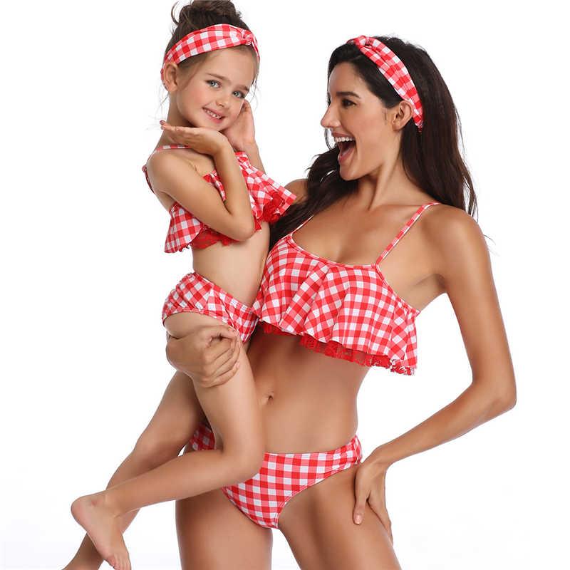 Плавание одежда для женщин; Большие размеры Семейные Комплекты Купальники Купальник с высокой талией бикини с оборками Плавание одежда Push Up кисточкой Плавание костюмы