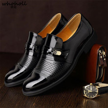 Whoholl Spring Autumn Men Formal Wedding Shoes Luxury Business Dress Loafers Pointy Big Size 38-48