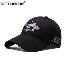 BUTTERMERE Black Sun Cap Ladies 100% Cotton Embroidery Baseball Caps For Women Casual Letter Adjustable Female Spring Dad Hats