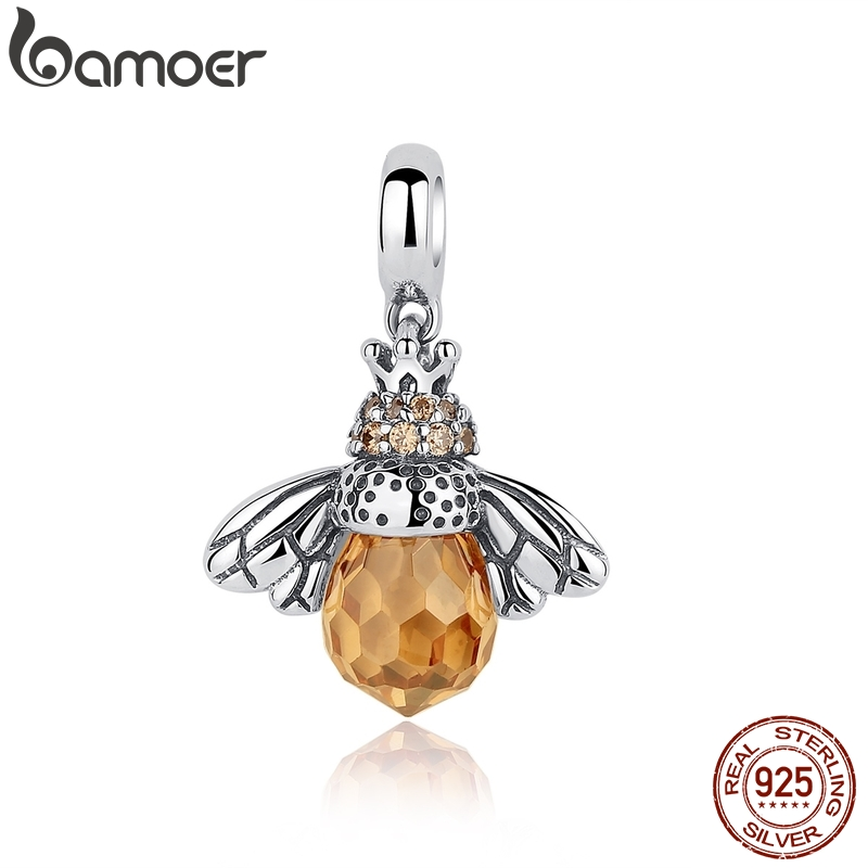 BAMOER Classic New 925 Sterling Silver Orange Wing Animal Bee Pendants fit  Bracelet for Women Accessories SCC035BAMOER Classic New 925 Sterling Silver Orange Wing Animal Bee Pendants fit  Bracelet for Women Accessories SCC035