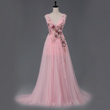 Long Sexy Party Dress Tulle Gown Deep V-neck Low Back Sheer Bottom Evening Dress with Handmade Flowers