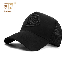 JOEJERRY Black Baseball Cap Women Mesh Embroidery Trucker Rose Floral Womens Rhinestone Caps Men