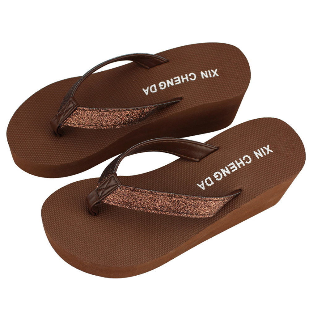 где купить 2018 Fashion Women Platform Flip Flops Thong Wedge Beach Sandals Shoes flat sandal platform sandals summer beach shoes slippers дешево