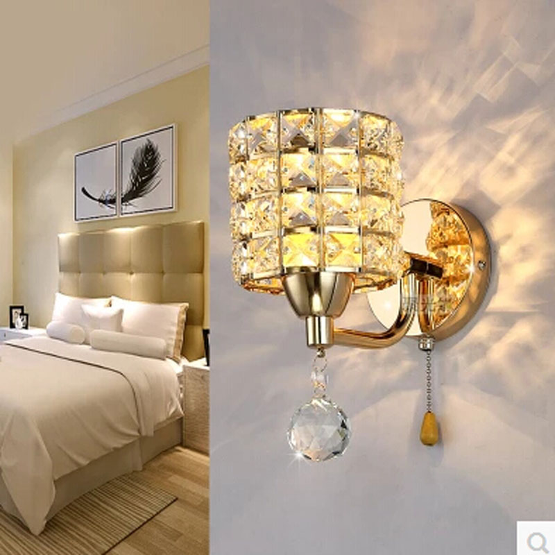buy ac85 265v pull chain switch crystal wall lamp lights modern zipper stainless steel base lighting wall sconces lamparas de pared from