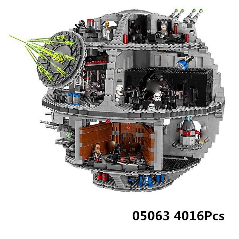 Lepin 05063 4016 pz Forza Waken UCS Morte Star Educativi Building Blocks Mattoni Star dwars giocattoli per i bambini Compatibile legoed