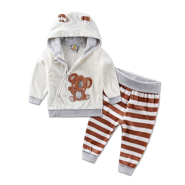 2017 Spring New Baby Kids Newborn Bebe Clothing Set Boys Girls Velvet Clothes Set Stripe Cartoon Coat Pant Sport Suit Baby Gifts